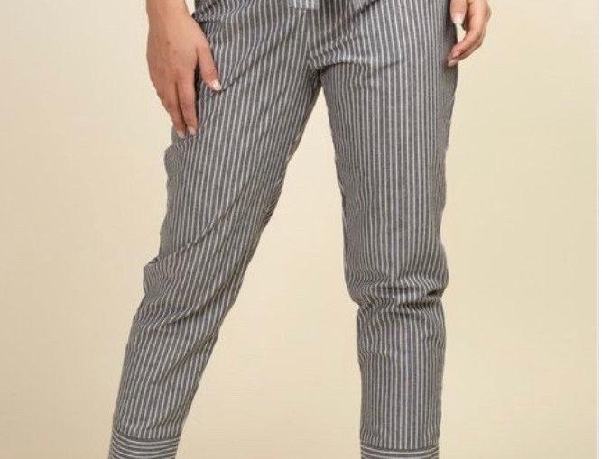 """Junior"" High Waisted Striped Pants - FINAL SALE"