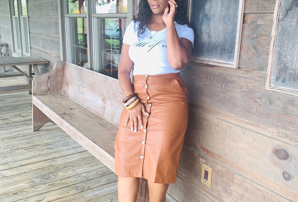 """Leather """"Button Down"""" Mid Skirt"""