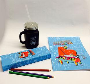 Tasa, estuchera y libro para colorear del Allegro Sinfonico para niños.