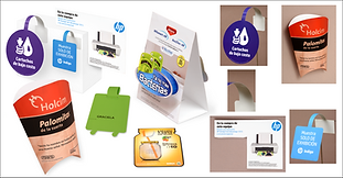 Tend cards y danglers impresos en digital, HP Graciela, Fuze tea y Holcim