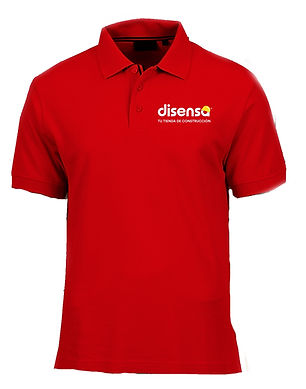 Playera color rojo Disensa Holcim.