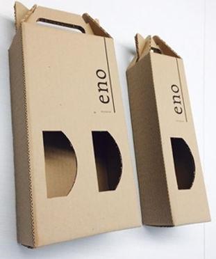 Caja contenedor de corrugado para Mezcal Eno de 1 y 2 botellas.
