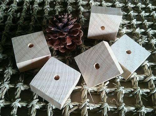 Thick Pine Wood Squares x 5