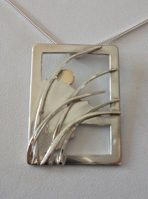 landscape pendant, silver & gold