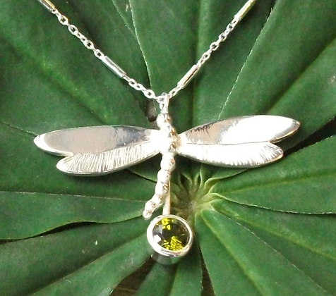 Dragonfly necklace stone set