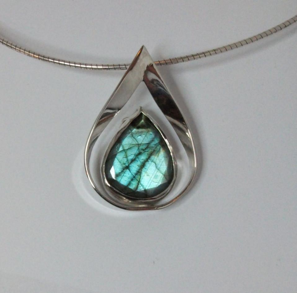 Silver labrodite pendant