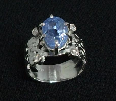 Wide celtic cylon sapphire & diamond ring
