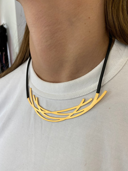 Gold Plated Artistic Line Necklace