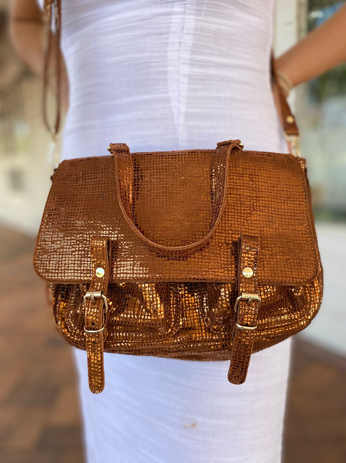 Leather Copper Metallic Handbag
