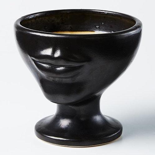 Black Half Face Vase