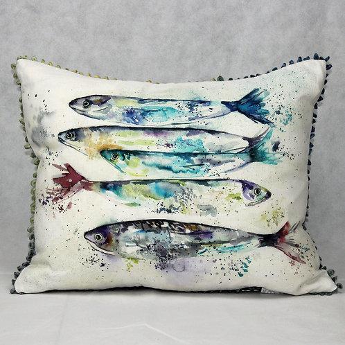 Linen Cushion - White with Sardines