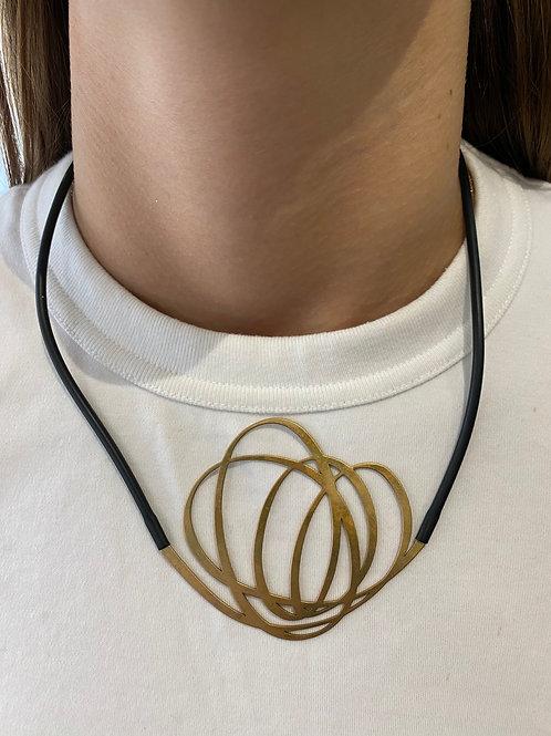 Gold Plated Artistic Whirl Necklace
