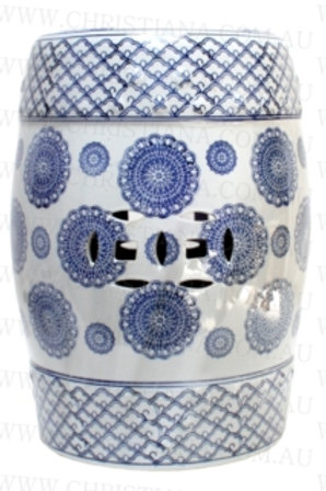 Ceramic Blue and White Stool