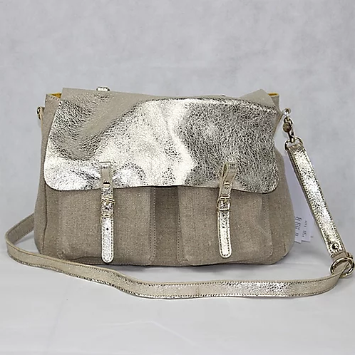 Linen Metallic Leather Handbag