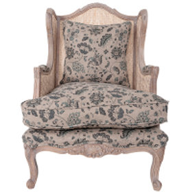 Rattan Armchair with Blue Cushions