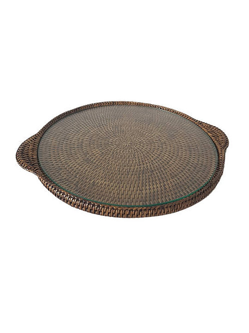 Rattan brown round tray with glass insert