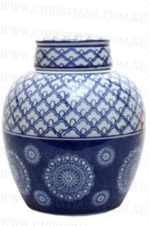 Ceramic Blue and White Ginger Jar