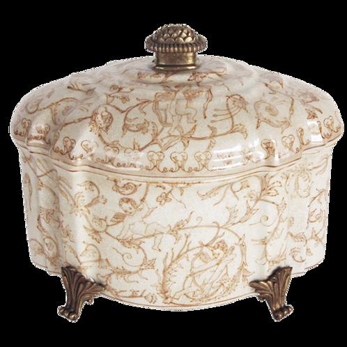 Lidded Ceramic Cherub Box