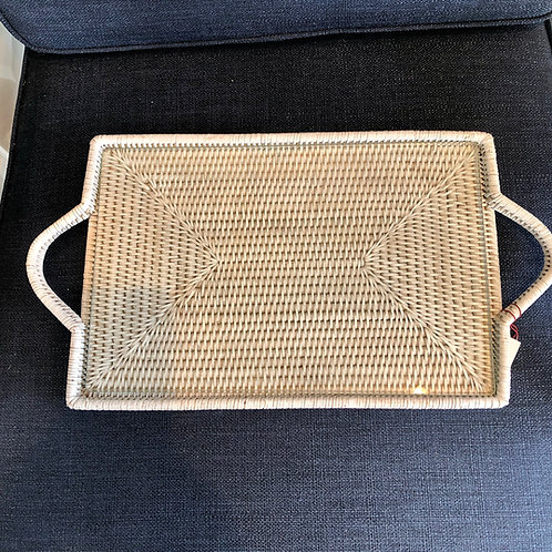 Rattan Tray Whitewash with Glass Insert