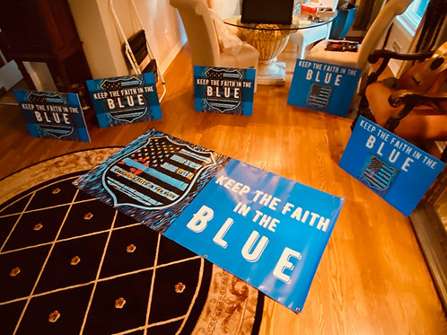 KEEP THE FAITH IN THE BLUE bumper stickers