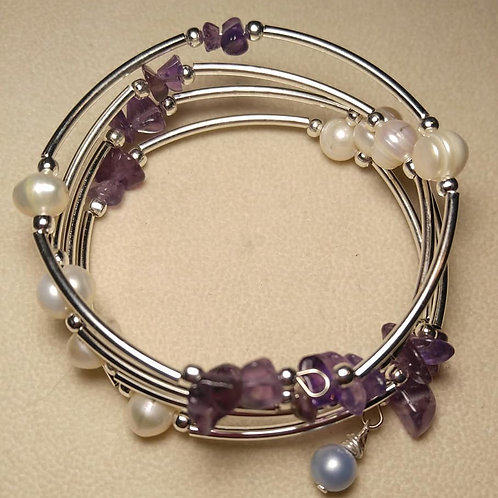 Amethyst and pearl wrap