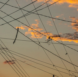 Kite strings on cables