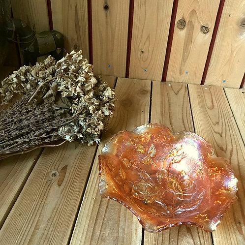 ヴィンテージ*古いラスター加工のガラスフリルボウル