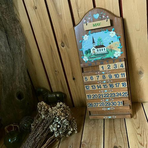 70-80'sヴィンテージ 木製の万年カレンダー
