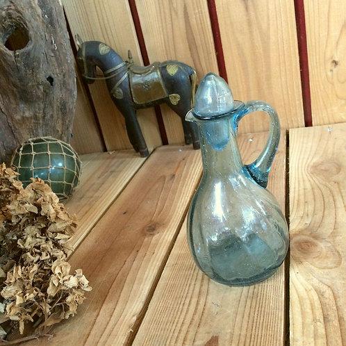 ヴィンテージ*古い気泡たっぷりの色ガラス調味料入れ