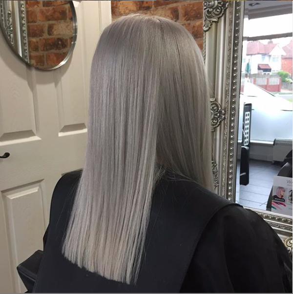 silver hair perfectly even created in our professional hair salon in solihull