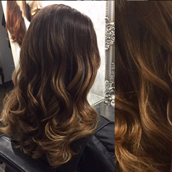 warm brunette balayage with golden copper caramel and toffee tones created by colour hair experts