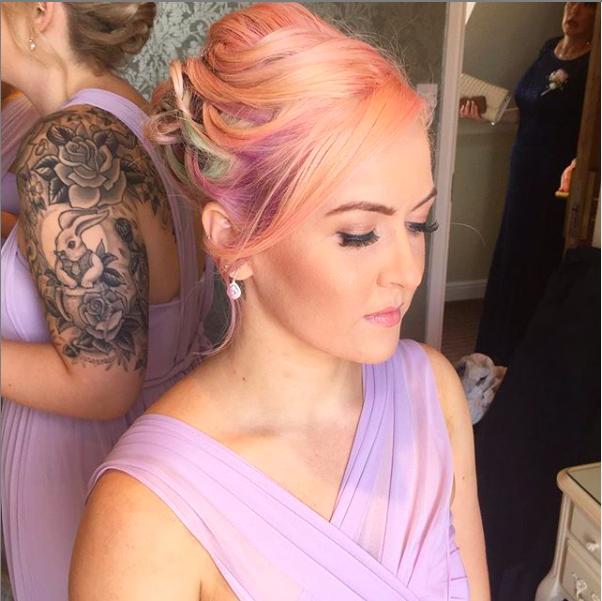 bridesmaid hair colourful pastel hair elegantly put into a natural hair up at nuthurst grange solihu