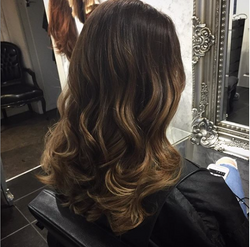 beautiful balayage on brunette hair created by our colour team of hair experts.