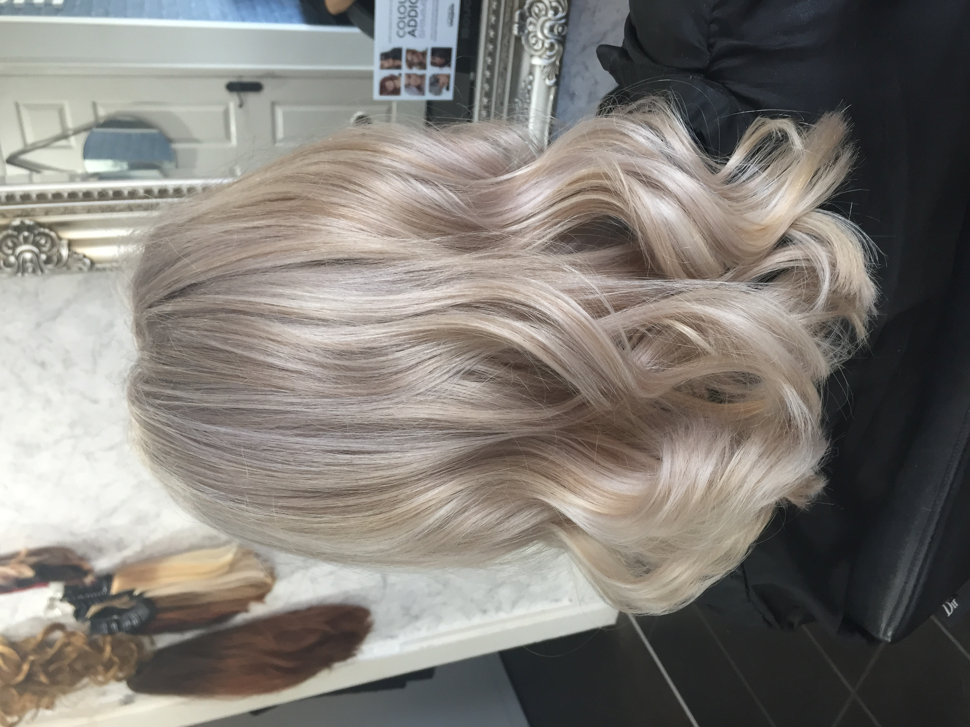 vanilla blonde hair colour created in professional hair salon