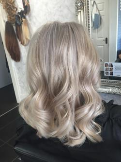 vanilla blonde hair colour created in professional hair salon