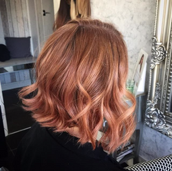 peach rose gold hair colour created using loreal professional colours and wealth of hair expert know