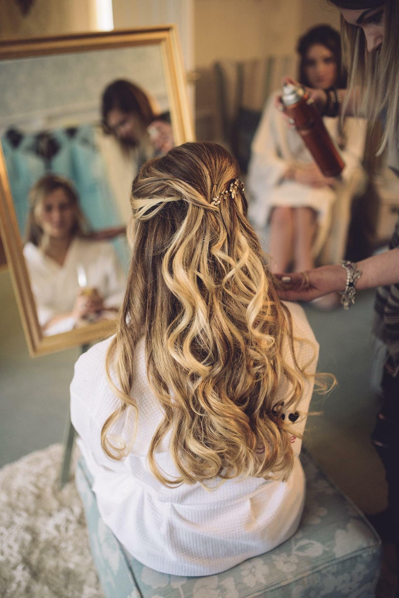 bridal half up style natural loose curls for blonde bride in Birmingham, West Midlands