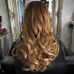 balayage colour hair experts using warm tones from brunette to blonde