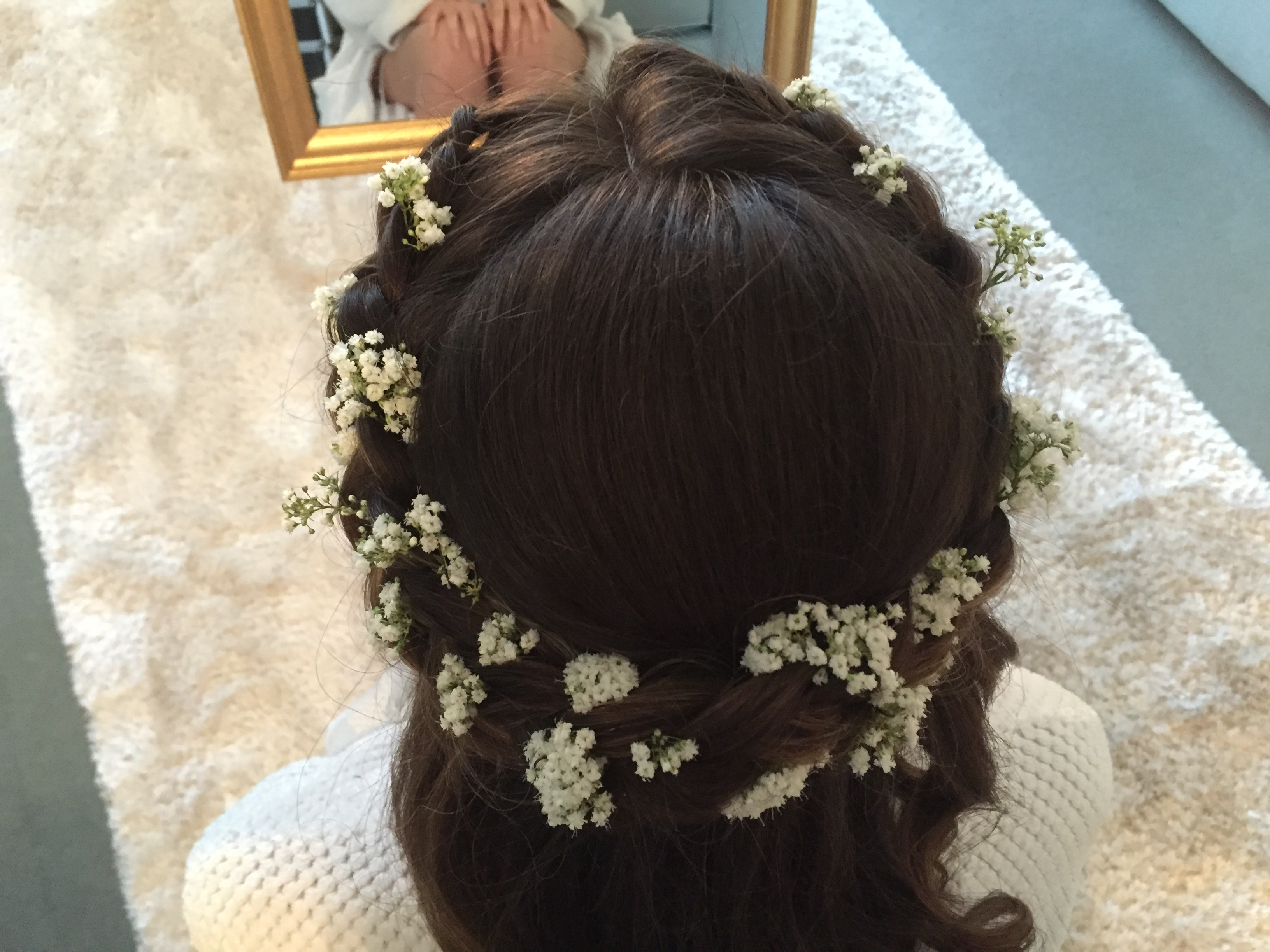 brunette bridesmaid hair with flower crown for a wedding in solihull, West Midlands
