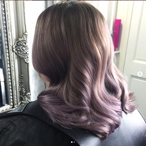 lilac wavy hair by hair colour specialist