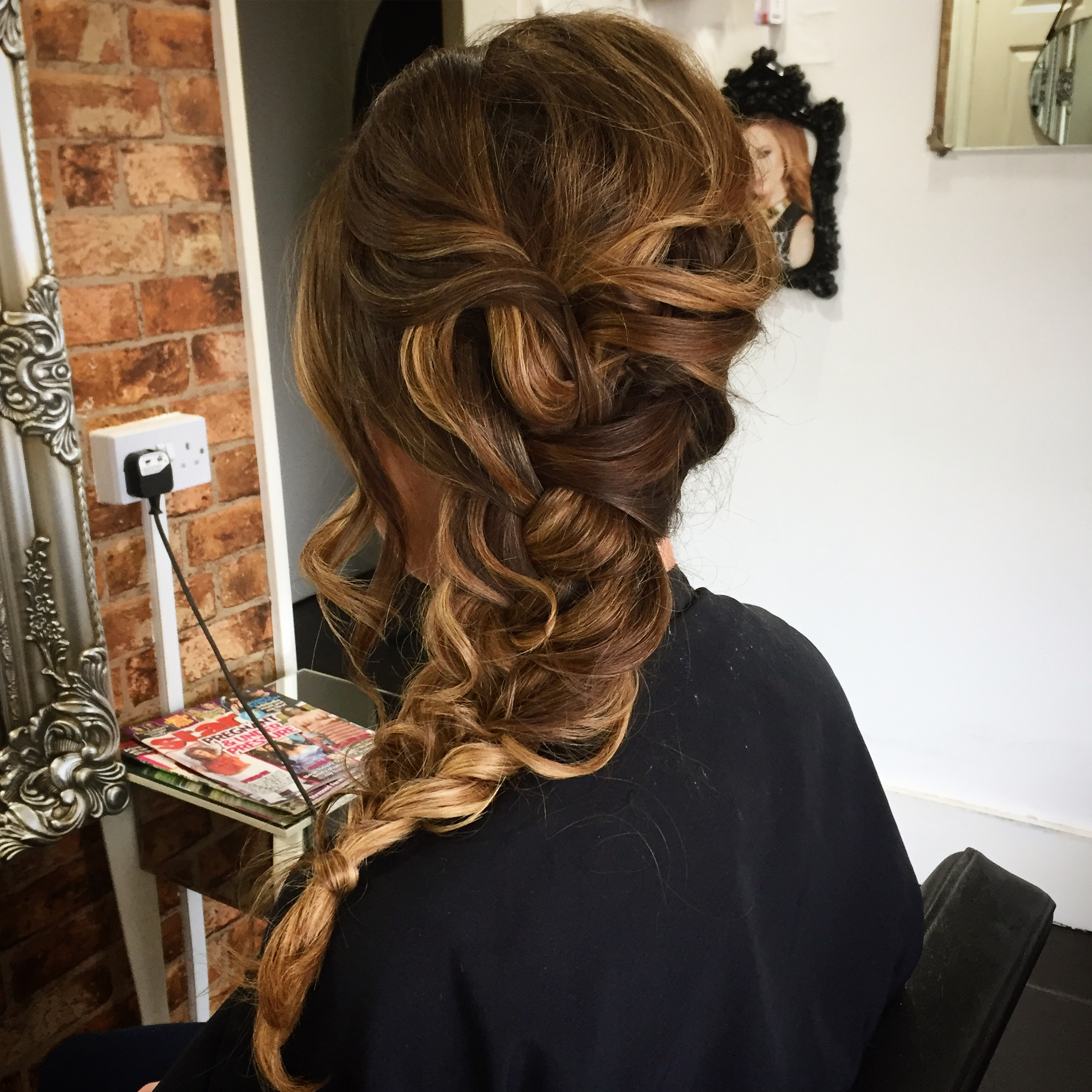 plaited loose hair up created by wedding hair specialist on balayage hair