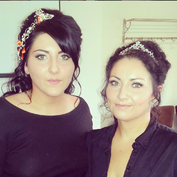 mother and daughter bridal hair up styles using natural curly undo style