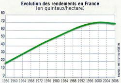 Evolution rendement du Blé en France