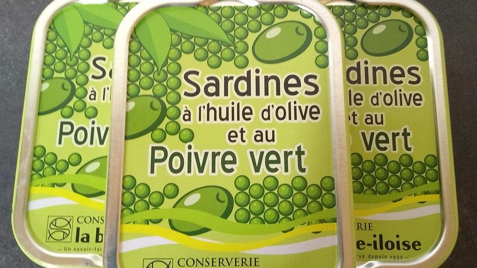 Sardines à l'huile d'olive et poivre vert