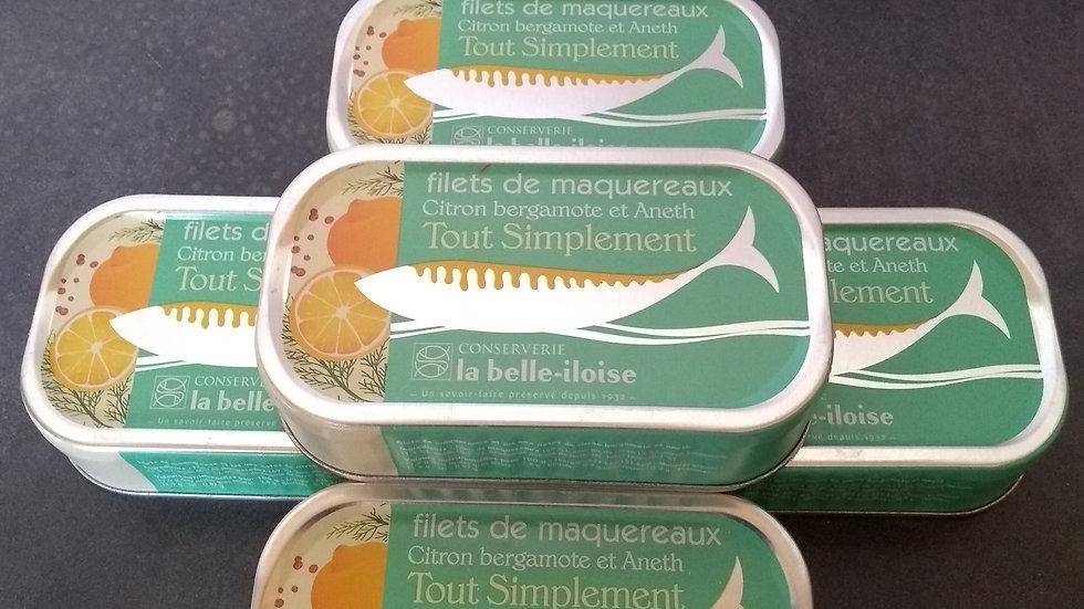 Filets de maquereaux bergamote aneth