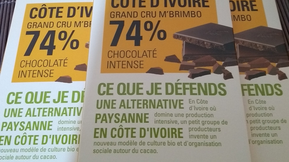 Chocolat noir grand cru bio 74 %