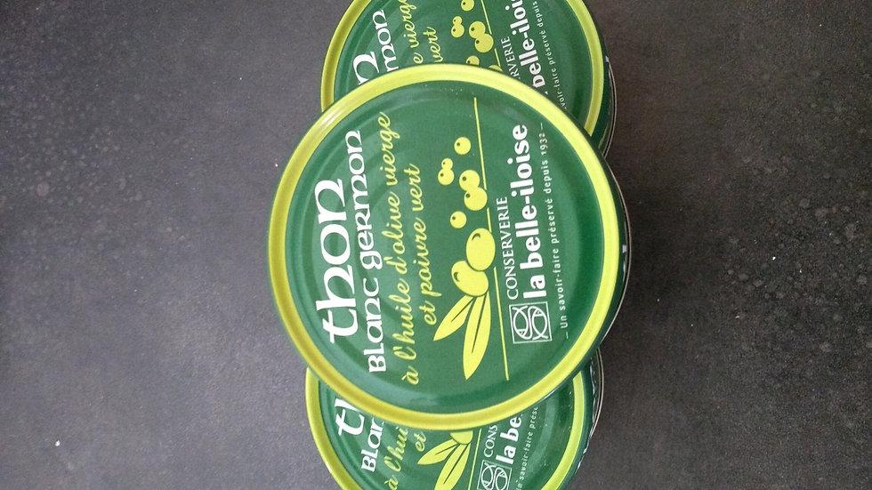 Thon blanc germon à l'huile d'olive vierge et poivre verts et aromates