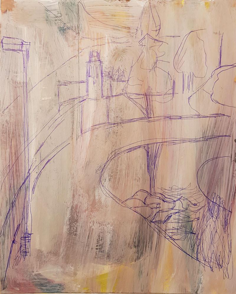 Ballpen tekening van Marian. De tekening is gebruikt in de schilderles van Albert Zwaan, voor een nieuwe opzet van een schilderij