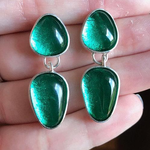 Green Two Piece Earrings
