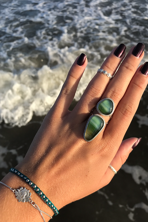 Green Double Glass Ring with Wrap